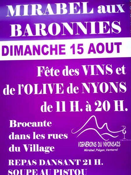 Affiche fete vins olive Mirabel 15 aout 2021